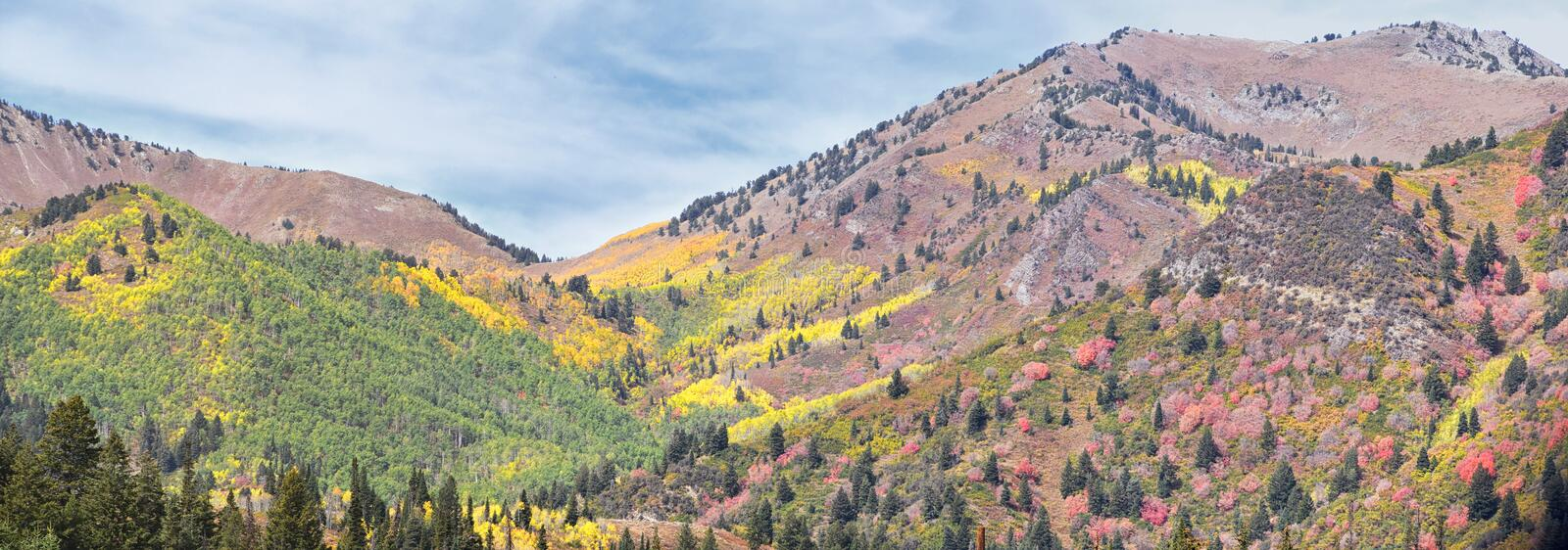 Guardsman Pass views of Panoramic Landscape of the Pass from the Brighton side by Midway and Heber Valley along the Wasatch Front. Rocky Mountains, Fall Leaf royalty free stock photo