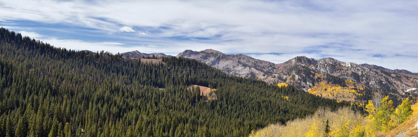 Guardsman Pass views of Panoramic Landscape of the Pass from the Brighton side by Midway and Heber Valley along the Wasatch Front. Rocky Mountains, Fall Leaf royalty free stock photos