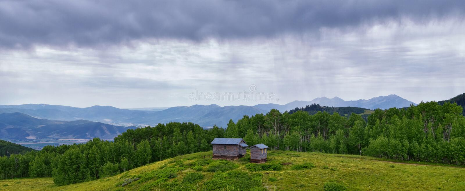 Guardsman Pass views of Panoramic Landscape of the Pass, Midway and Heber Valley along the Wasatch Front Rocky Mountains, Summer F. Orests, Clouds and Rainstorm royalty free stock image