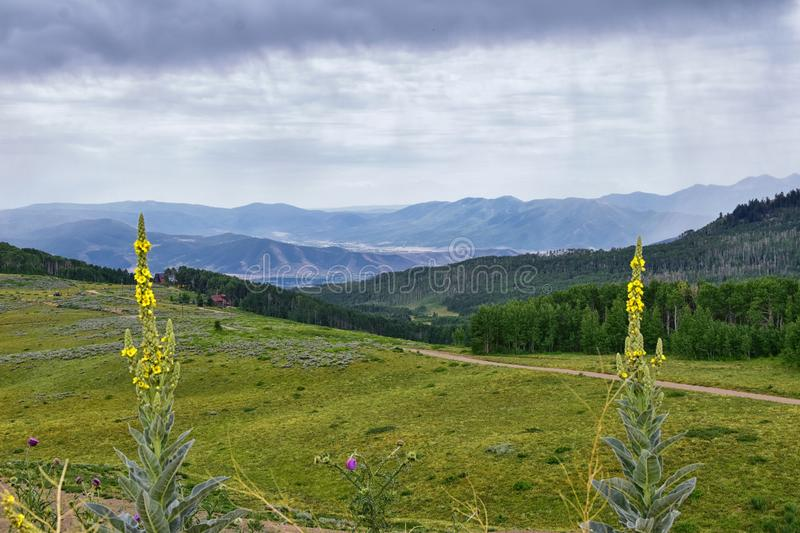 Guardsman Pass views of Panoramic Landscape of the Pass, Midway and Heber Valley along the Wasatch Front Rocky Mountains, Summer F. Orests, Clouds and Rainstorm royalty free stock images