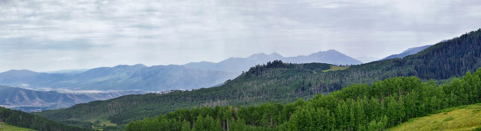 Guardsman Pass views of Panoramic Landscape of the Pass, Midway and Heber Valley along the Wasatch Front Rocky Mountains, Summer F. Orests, Clouds and Rainstorm stock images