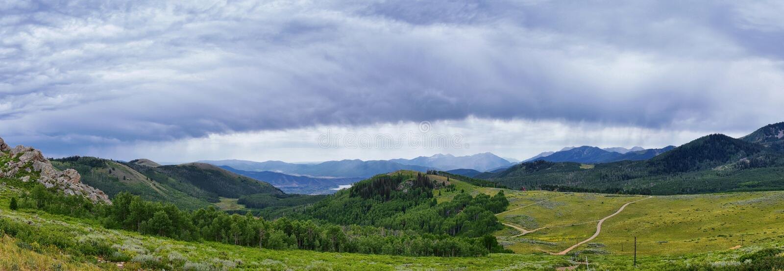 Guardsman Pass views of Panoramic Landscape of the Pass, Midway and Heber Valley along the Wasatch Front Rocky Mountains, Summer F. Orests, Clouds and Rainstorm stock photo