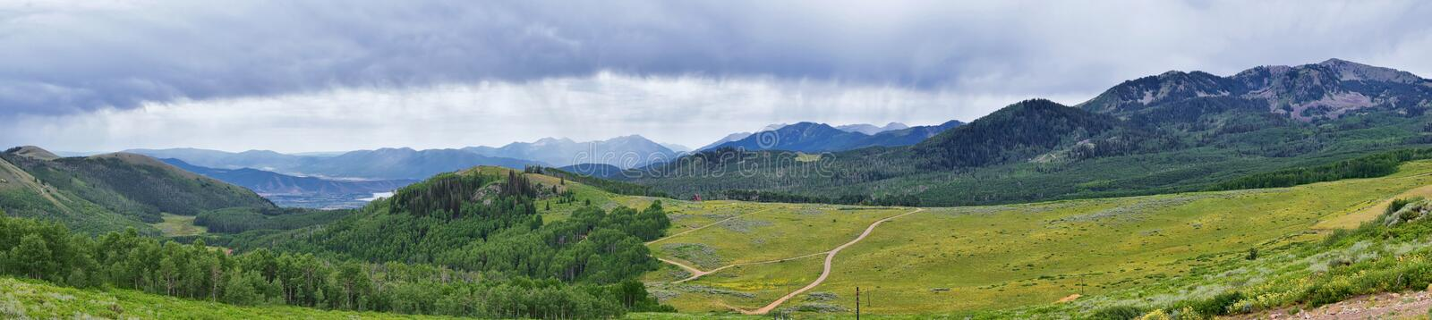 Guardsman Pass views of Panoramic Landscape of the Pass, Midway and Heber Valley along the Wasatch Front Rocky Mountains, Summer F. Orests, Clouds and Rainstorm stock photos