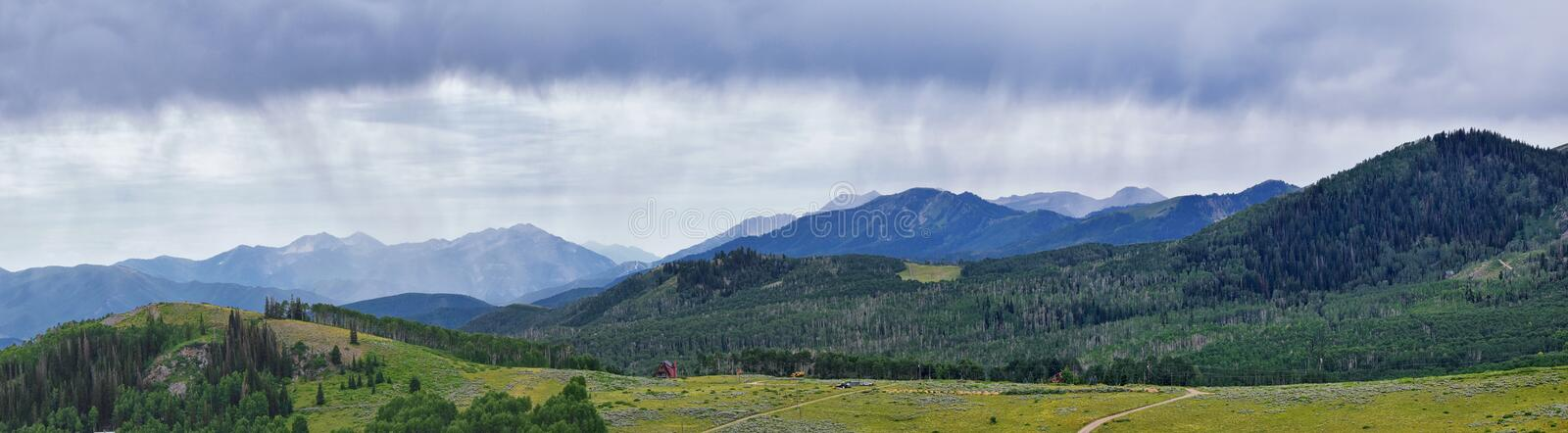 Guardsman Pass views of Panoramic Landscape of the Pass, Midway and Heber Valley along the Wasatch Front Rocky Mountains, Summer F. Orests, Clouds and Rainstorm royalty free stock photo