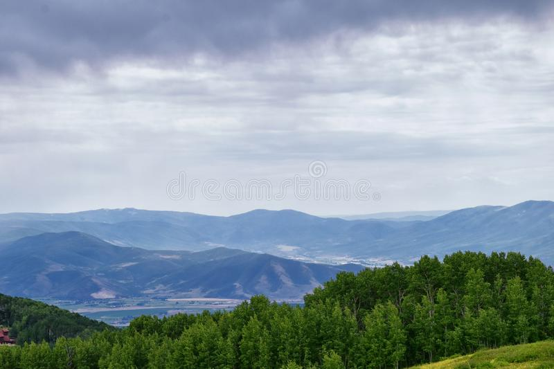 Guardsman Pass views of Panoramic Landscape of the Pass, Midway and Heber Valley along the Wasatch Front Rocky Mountains, Summer F. Orests, Clouds and Rainstorm stock photography