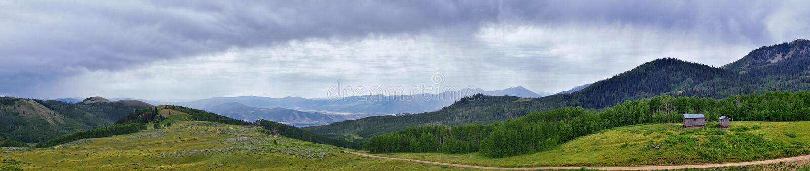 Guardsman Pass views of Panoramic Landscape of the Pass, Midway and Heber Valley along the Wasatch Front Rocky Mountains, Summer F. Orests, Clouds and Rainstorm royalty free stock photography