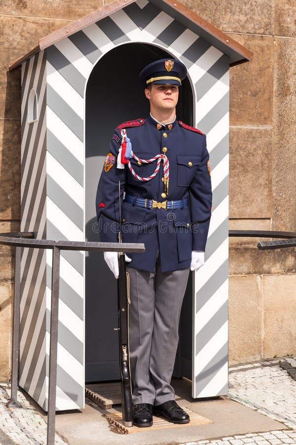 Guardsman is at the post, Prague. Prague, Czech Republic - May 1, 2017: Guardsman is at the post at the main entrance of the Prague Castle, Matthias Gate stock photography