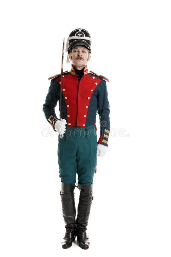 Guardsman with saber. On white background royalty free stock images