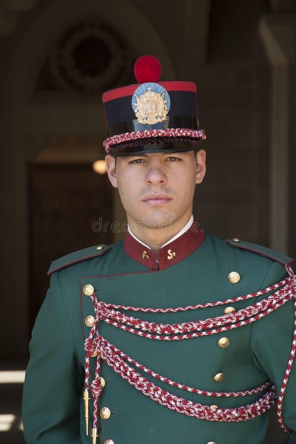 A guardsman of San Marino Republic, Italy. A portrait young uniformed guardsman of San Marino Republic, Italy royalty free stock photos