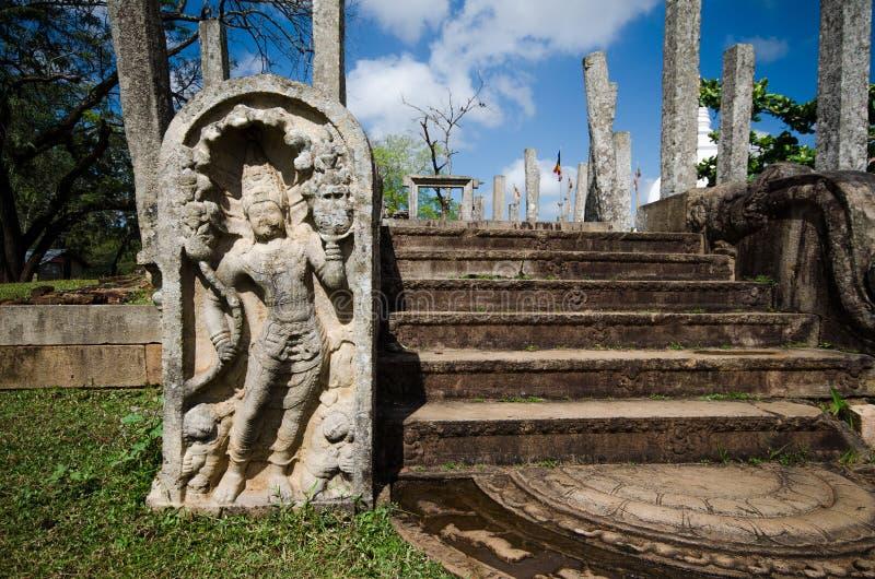 Guardstones de Anuradhapura, Sri Lanka fotografía de archivo