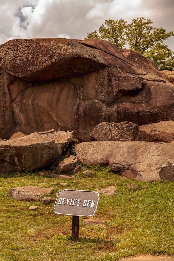 Guarida de los diablos en el parque militar nacional de Gettysburg imagenes de archivo