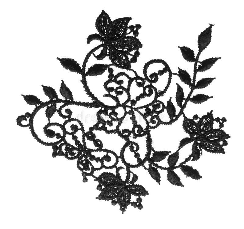 A guarnição bordada floral da tela do laço, pano floresce o branco isolado foto de stock royalty free