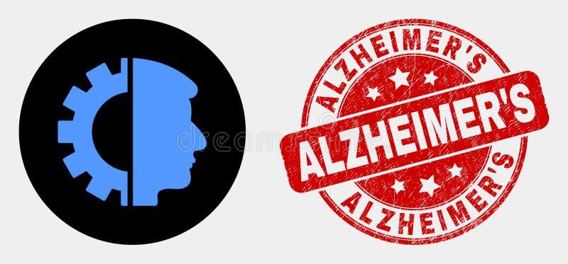 """Guarnizione capa del bollo dell'icona dell'ingranaggio di vettore e di S di Alzheimer di lerciume """" royalty illustrazione gratis"""