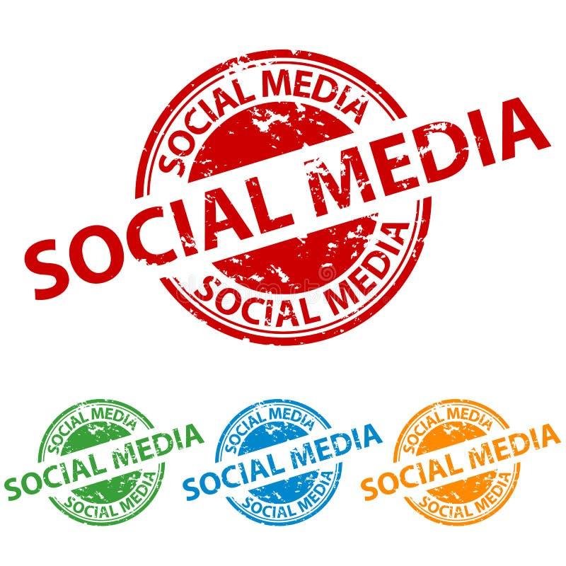 Guarnizione del timbro di gomma - media sociali - insieme variopinto di vettore illustrazione di stock