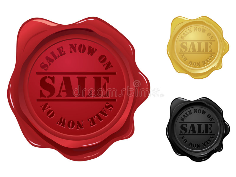 Guarnizione della cera con il bollo di vendita illustrazione vettoriale