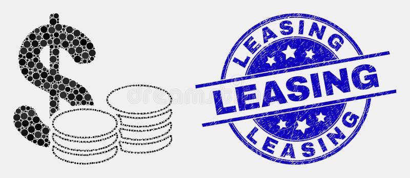 Guarnizione di leasing dell'icona dei contanti di Pixelated di vettore e del bollo di lerciume royalty illustrazione gratis