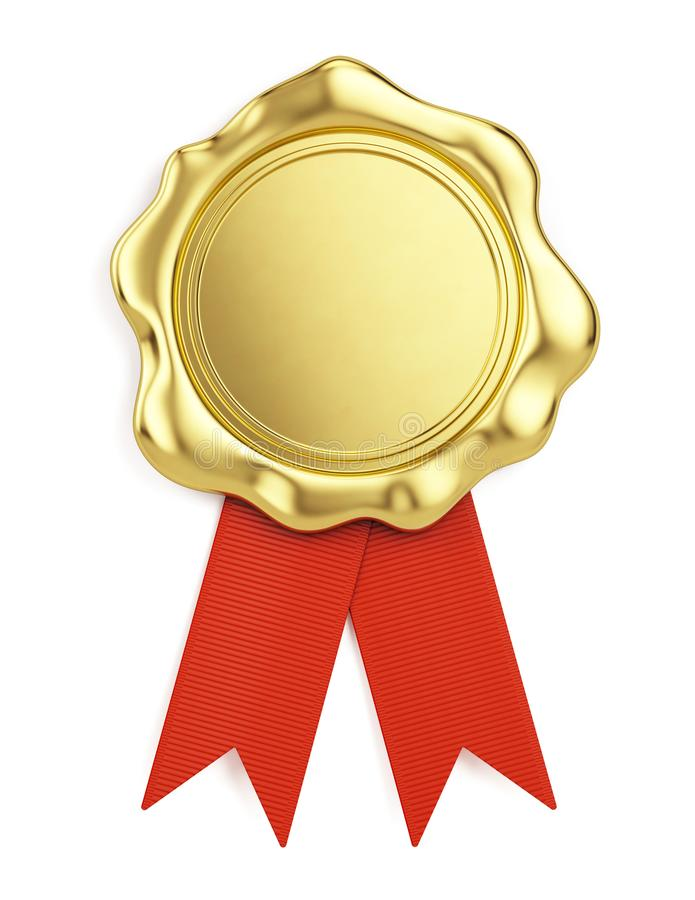 Guarnizione dorata in bianco della cera con il nastro rosso isolato su fondo bianco royalty illustrazione gratis
