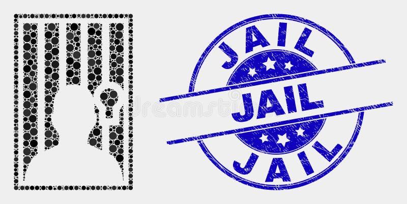 Guarnizione imprigionata dell'icona della persona punteggiata vettore e del bollo della prigione di emergenza illustrazione di stock