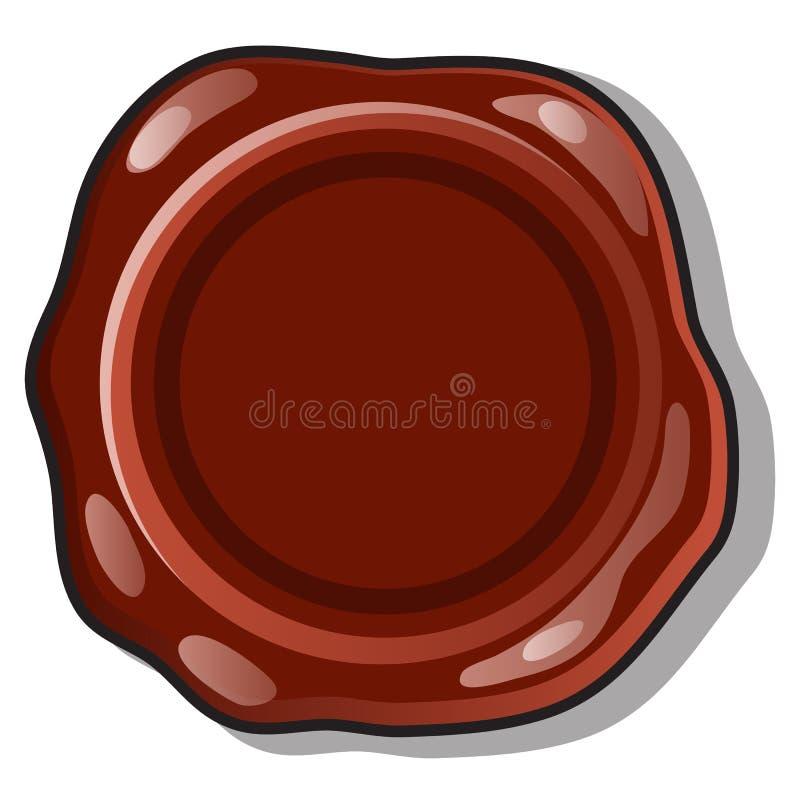 Guarnizione o bollo con una superficie in bianco e spazio della cera di Brown per il vostro testo isolato su un fondo bianco Fume illustrazione vettoriale