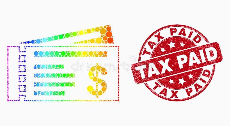 Guarnizione pagata punteggiata luminosa dell'icona degli assegni del dollaro di vettore e del bollo di imposta di lerciume illustrazione vettoriale