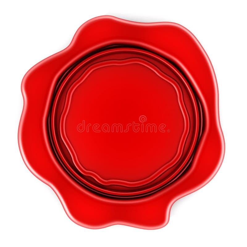 Guarnizione rossa in bianco della cera illustrazione di stock