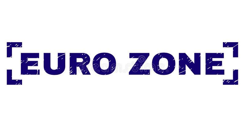 Guarnizione strutturata del bollo della ZONA EURO di lerciume dentro gli angoli illustrazione vettoriale