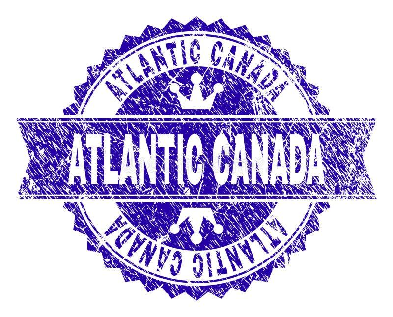 Guarnizione strutturata graffiata del bollo dell'ATLANTICO CANADA con il nastro illustrazione vettoriale