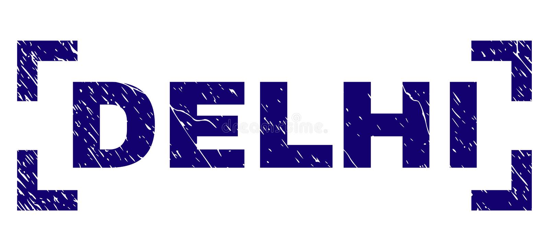 Guarnizione strutturata graffiata del bollo di DELHI fra gli angoli illustrazione di stock
