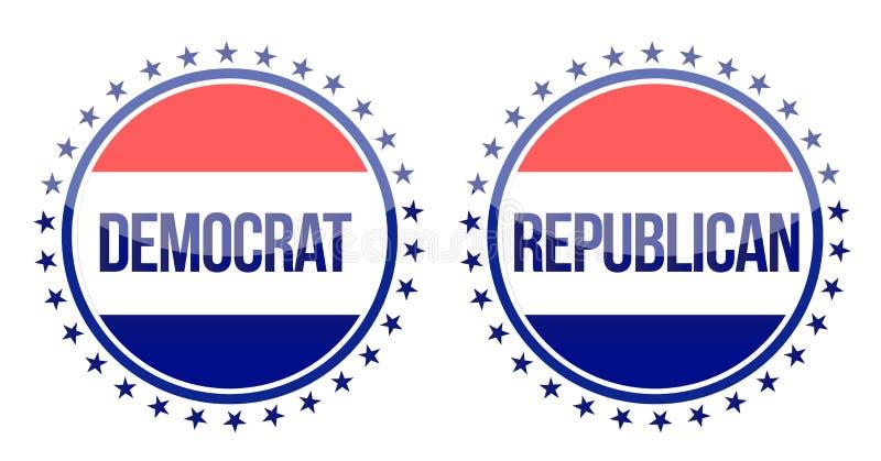 Guarnizioni del repubblicano e di Democratico illustrazione di stock