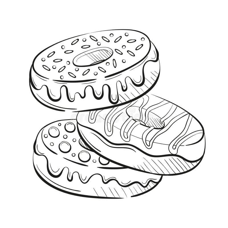 Guarnizioni di gomma piuma con la glassa e caramelle, crema e dolciumi spruzzanti Bello dessert dolce Clipart per un ristorante o illustrazione vettoriale