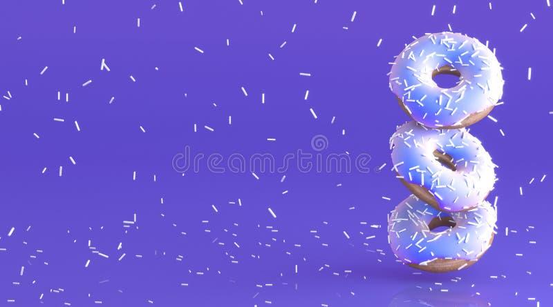 Guarnizioni di gomma piuma saporite con la glassa delicatamente viola Piova dalla decorazione bianca per cuocere sul fondo malva  illustrazione di stock