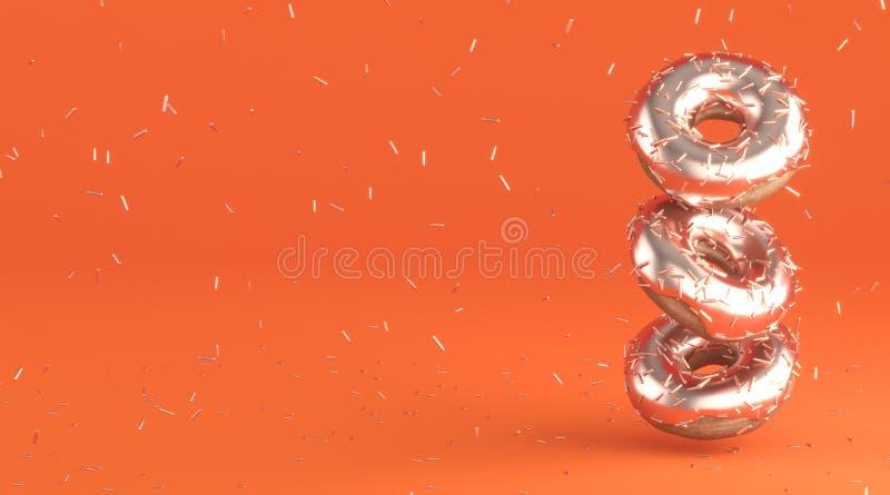Guarnizioni di gomma piuma saporite con la glassa dell'oro e la decorazione dorata per cuocere sul fondo arancio luminoso royalty illustrazione gratis