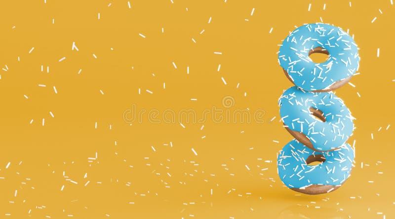 Guarnizioni di gomma piuma saporite con la glassa molle della menta Piova dalla decorazione bianca per cuocere sul fondo giallo l illustrazione di stock