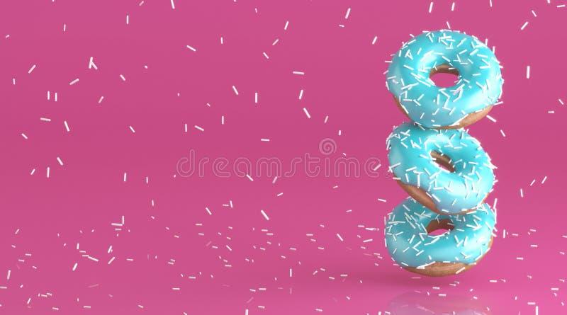 Guarnizioni di gomma piuma saporite con la glassa molle della menta Piova dalla decorazione bianca per cuocere sul fondo rosa lum royalty illustrazione gratis
