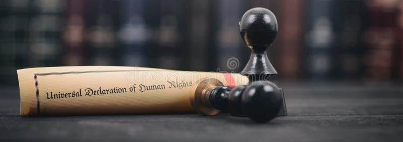 Guarnizioni di notaio, dichiarazione universale dei diritti umani su un fondo di legno fotografia stock libera da diritti
