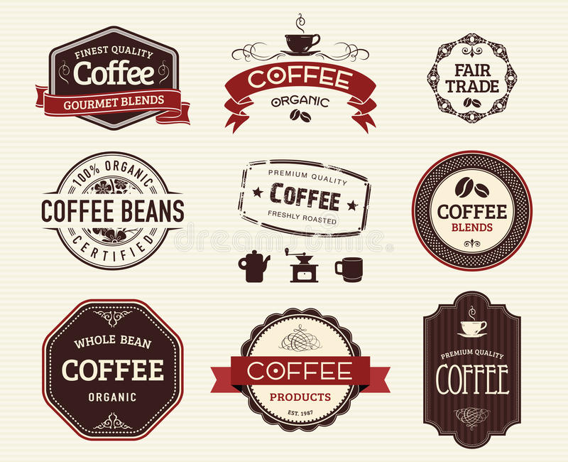 Guarnizioni e bolli del caffè royalty illustrazione gratis
