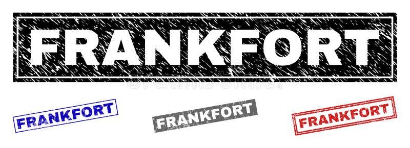 Guarnizioni strutturate del bollo di rettangolo di FRANKFURTER di lerciume illustrazione di stock