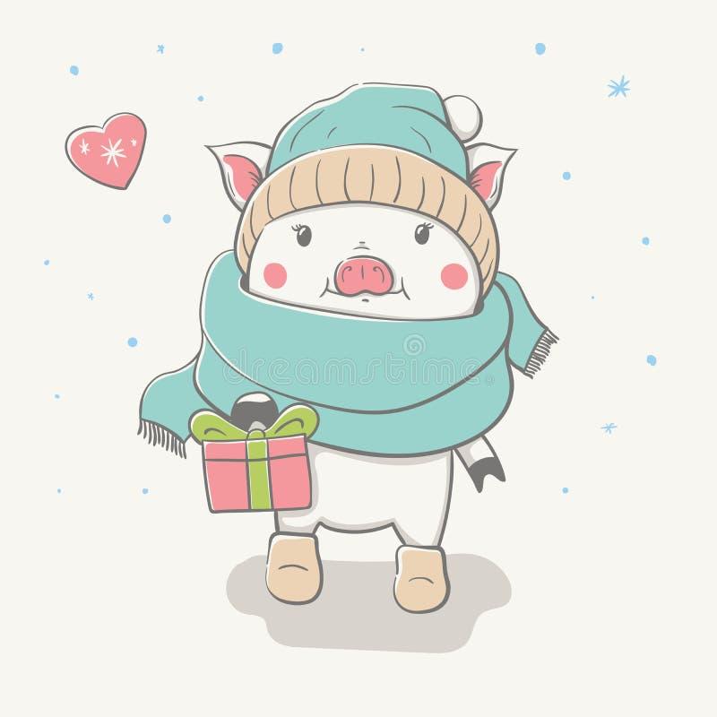 Guarro alegre lindo precioso entra en una bufanda divertida, sombrero, y sentía botas con un regalo Tarjeta con el animal de la h stock de ilustración