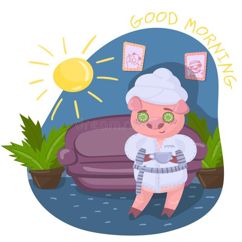 Guarro divertido en el césped verde, carácter lindo durante procedimientos de la mañana, ejemplo del cerdo del vector en estilo d stock de ilustración