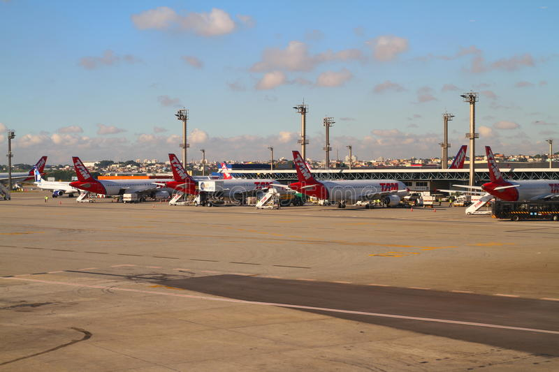 Guarulhos Airport - Sao Paulo - Brazil. Photo showing airplanes at Guarulhos Airport - Sao Paulo - Brazil royalty free stock images