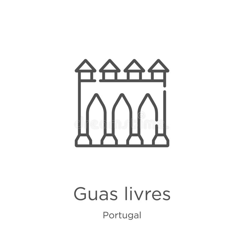 Guas livres icon vector from portugal collection. Thin line guas livres outline icon vector illustration. Outline, thin line guas. Guas livres icon. Element of stock illustration