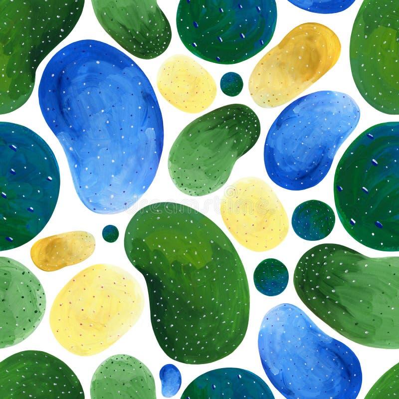 Guasz abstrakcjonistyczna bezszwowa zieleń i żółci punkty na białym tle ilustracja wektor