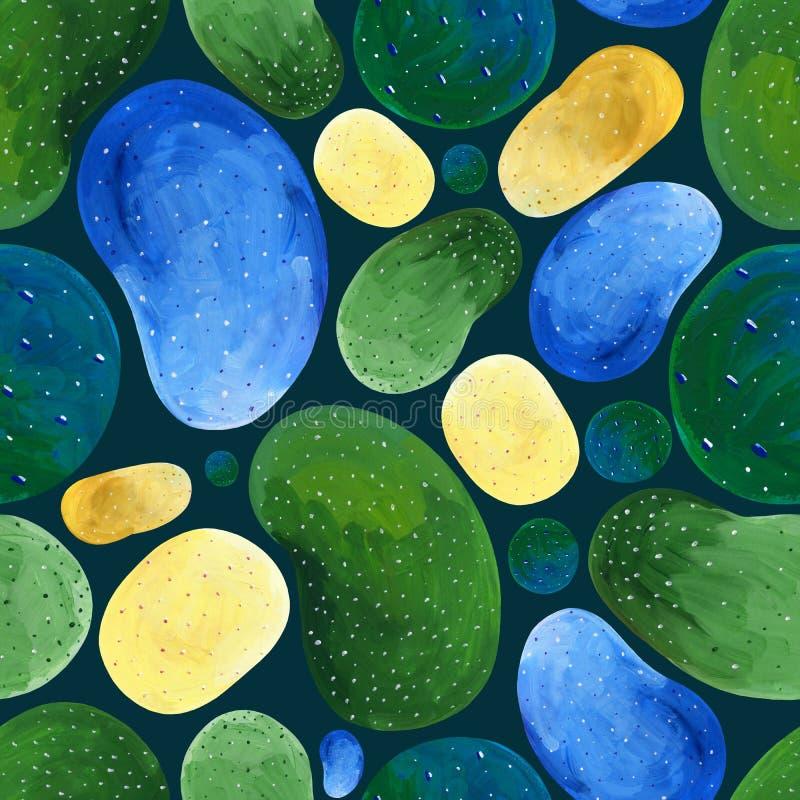 Guasz abstrakcjonistyczna bezszwowa zieleń i żółci punkty na ciemnym tle ilustracji