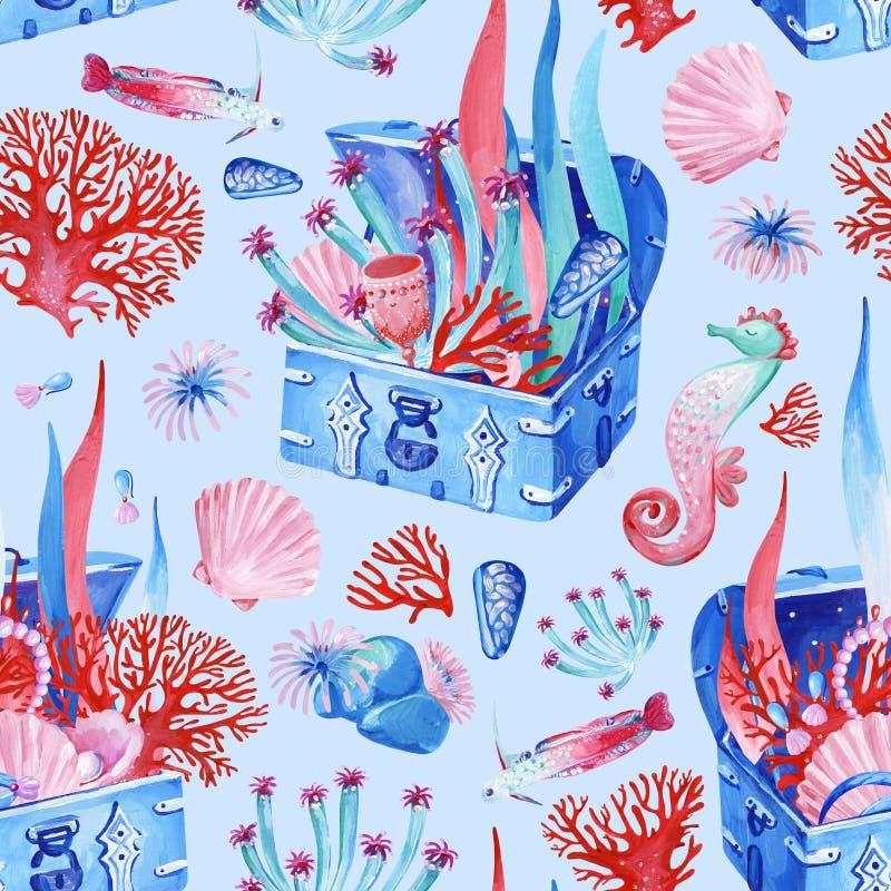 Guasz bezszwowa podmorska stara klatka piersiowa z skarbem na błękitnym tle ilustracja wektor
