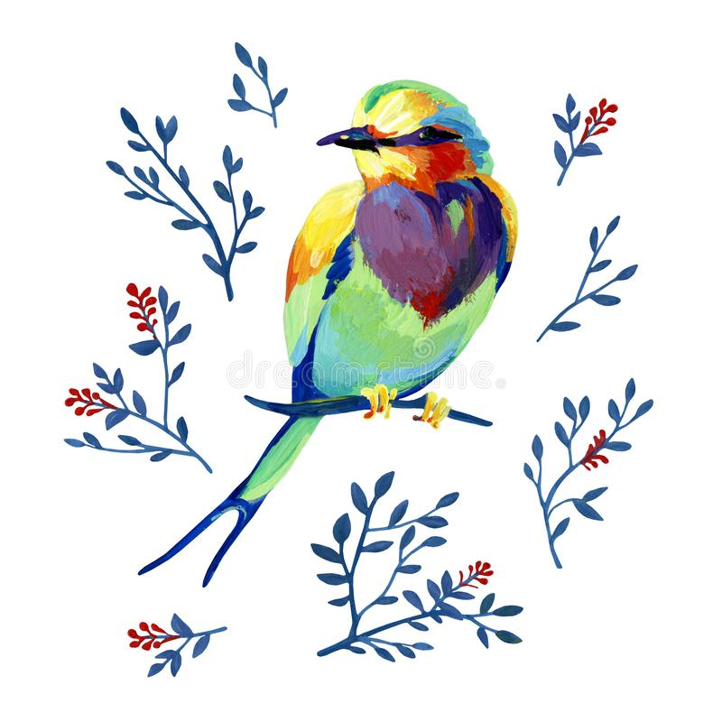 Guasz iryzuje ogrodowego ptaka na gałąź z naturalnymi elementami ilustracji