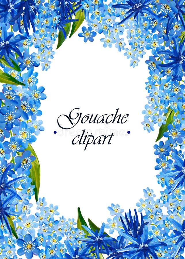 Guasz kwiecista rama z błękitów kwiatami i zieleń liśćmi ilustracja wektor