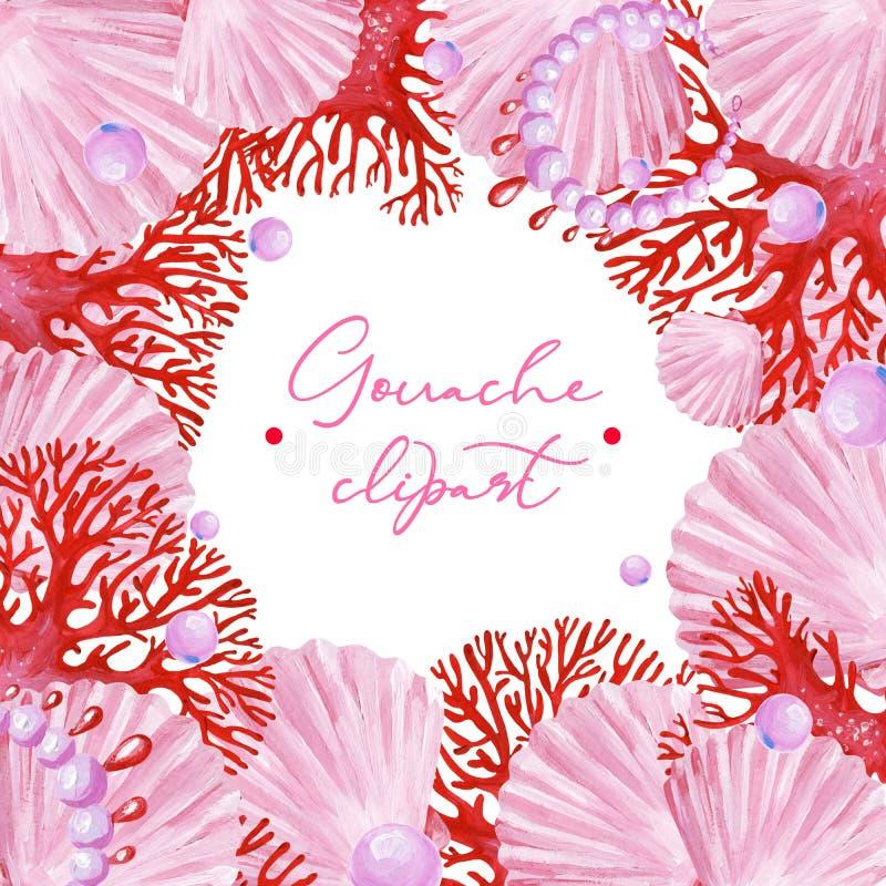 Guasz menchii kwadrata podmorska rama z menchii skorupami, perłą i czerwonym koralem, ilustracja wektor