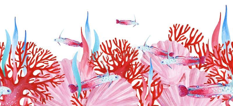 Guasz różowa podmorska bezszwowa granica z menchiami łuska, ryb, saeweed i czerwonego koral, ilustracji