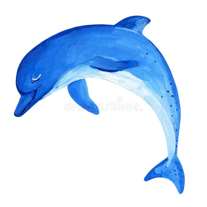 Guaszu błękitny skokowy delfin z ładnym uśmiechem ilustracja wektor
