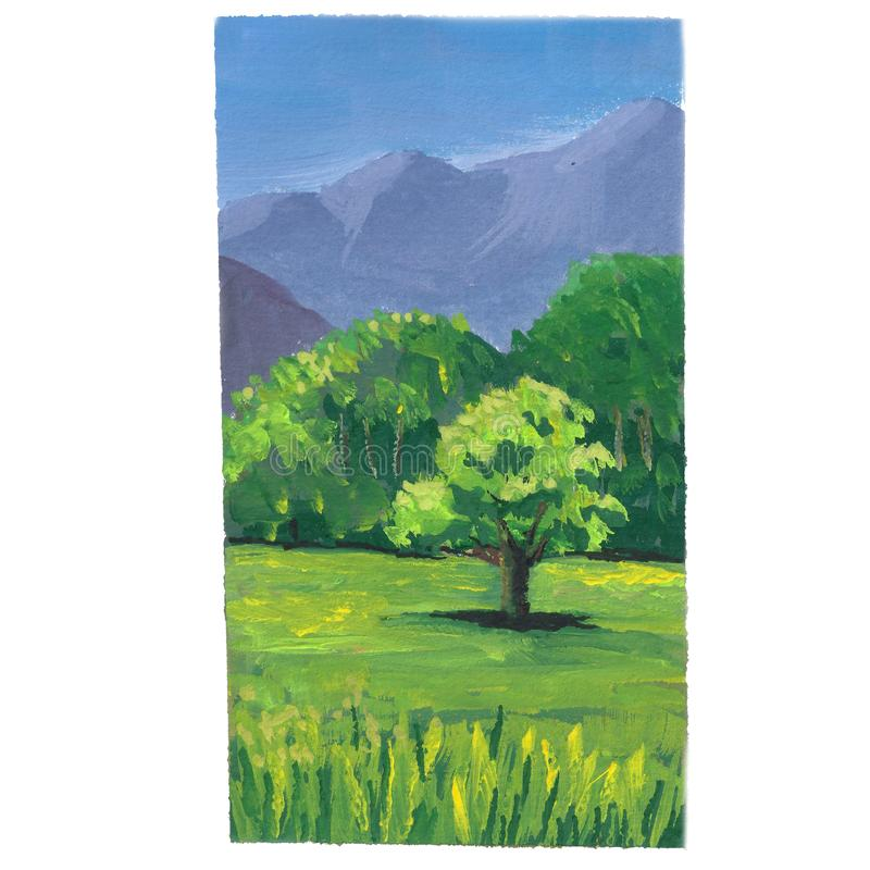 Guaszu krajobraz ilustracja wektor
